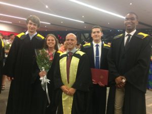 Undergraduate Honours Students (Left to right) Nicholas, Marie, Josh, and Karl at convocation!